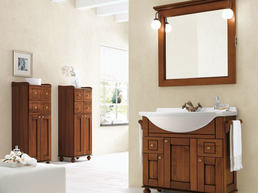 Walnut bathroom cabinet / vanity unit DALÌ - COMPOSITION 18 by Arcom