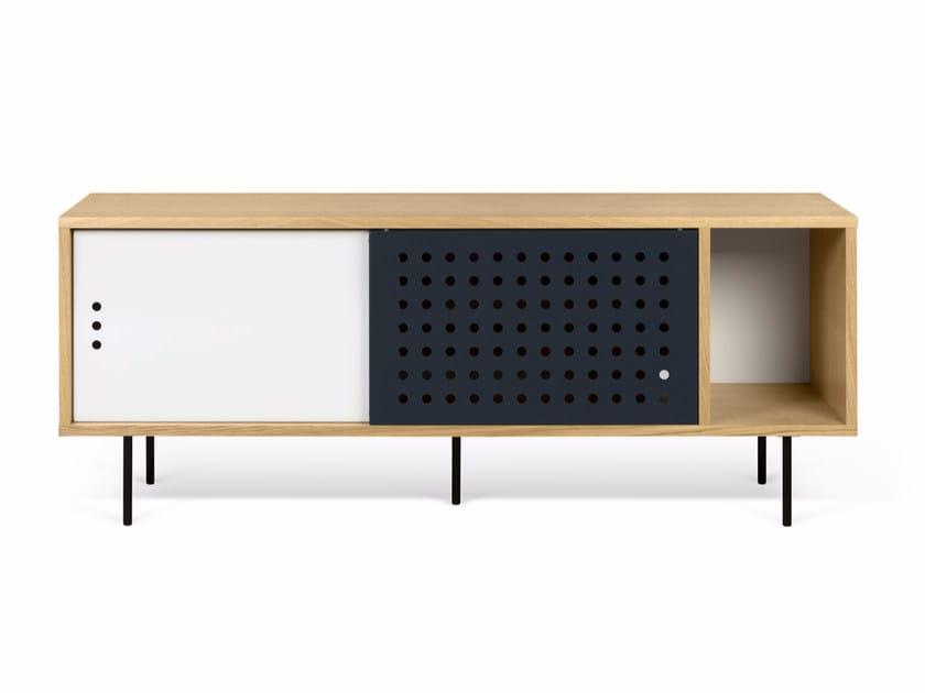 Wood veneer sideboard with sliding doors DANN DOTS | Sideboard by TemaHome