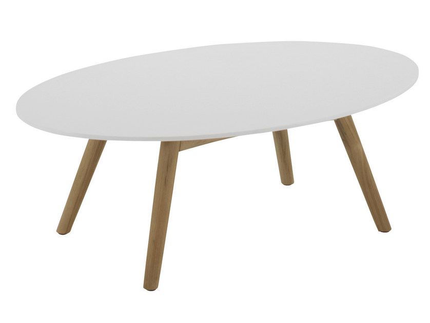 Table basse de jardin ovale en pierre acrylique collection dansk by gloster design povl - Table basse acrylique ...