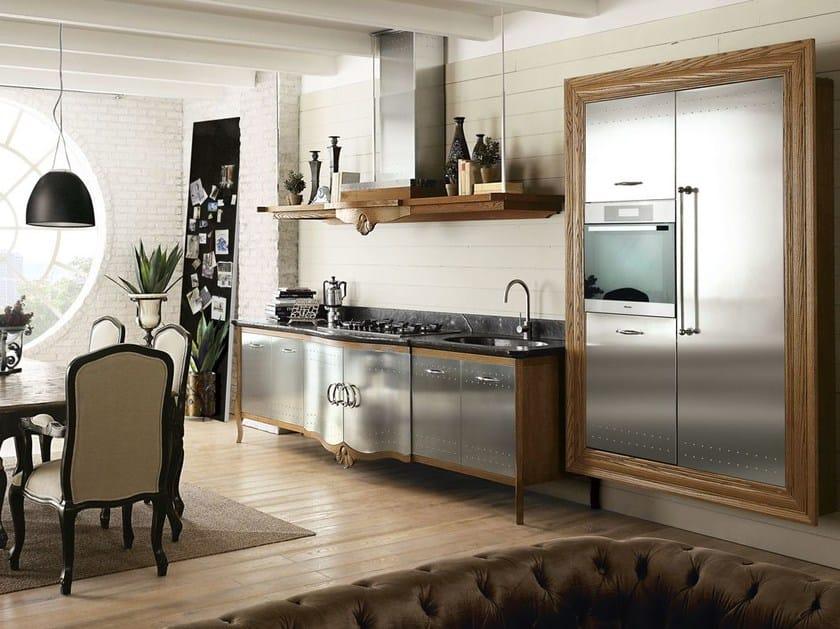 Cucina componibile in acciaio inox e legno dechora composizione 02 marchi cucine - Cucine in acciaio inox ...