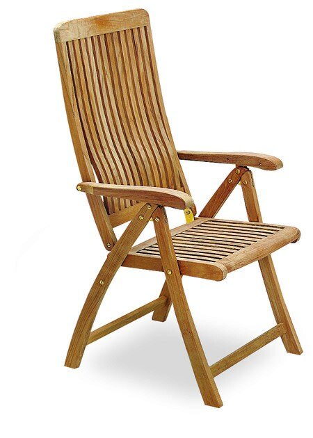 Folding recliner teak deck chair with armrests DEL REY | Deck chair - ROYAL BOTANIA