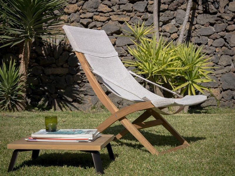 Folding teak deck chair COSETTE | Deck chair by Unopiù