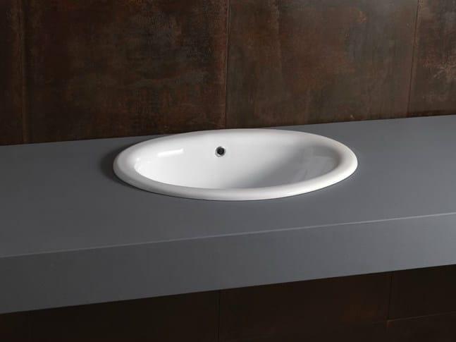Inset oval ceramic washbasin DECOR 56 - Alice Ceramica