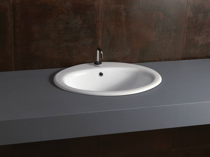 Inset oval ceramic washbasin DECOR 57 - Alice Ceramica