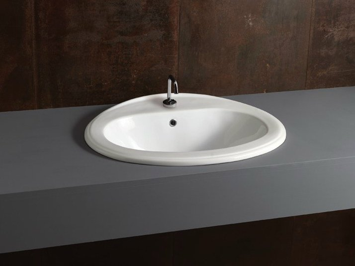Inset oval ceramic washbasin DECOR 63 by Alice Ceramica