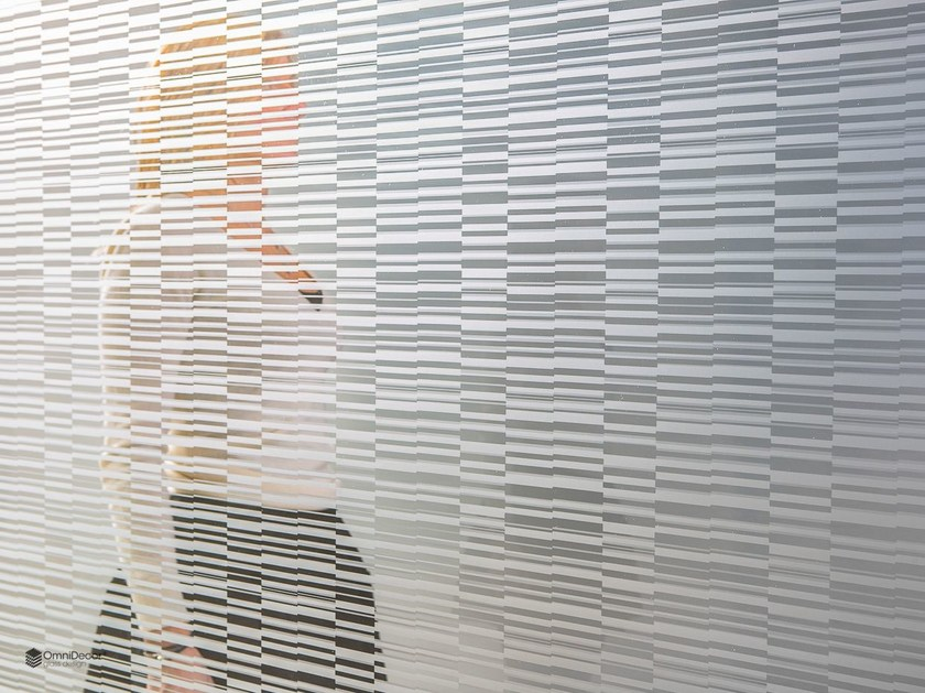 Decorated glass partition wall DECORFLOU® DESIGN BARCODE - OmniDecor®