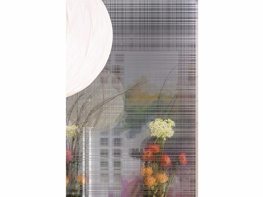 Decorated glass partition wall DECORFLOU® DESIGN MANHATTAN - OmniDecor®