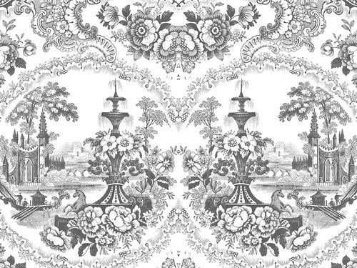 Motif wallpaper DELFT BAROQUE WALLPAPER - BLACK by Mineheart