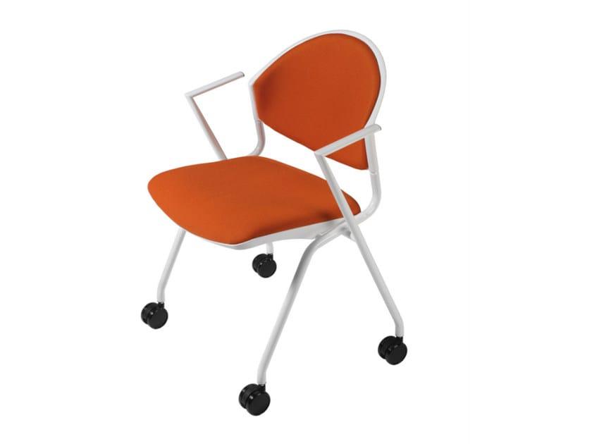 Sedia ufficio operativa con braccioli con ruote DELFI 089 R by TALIN