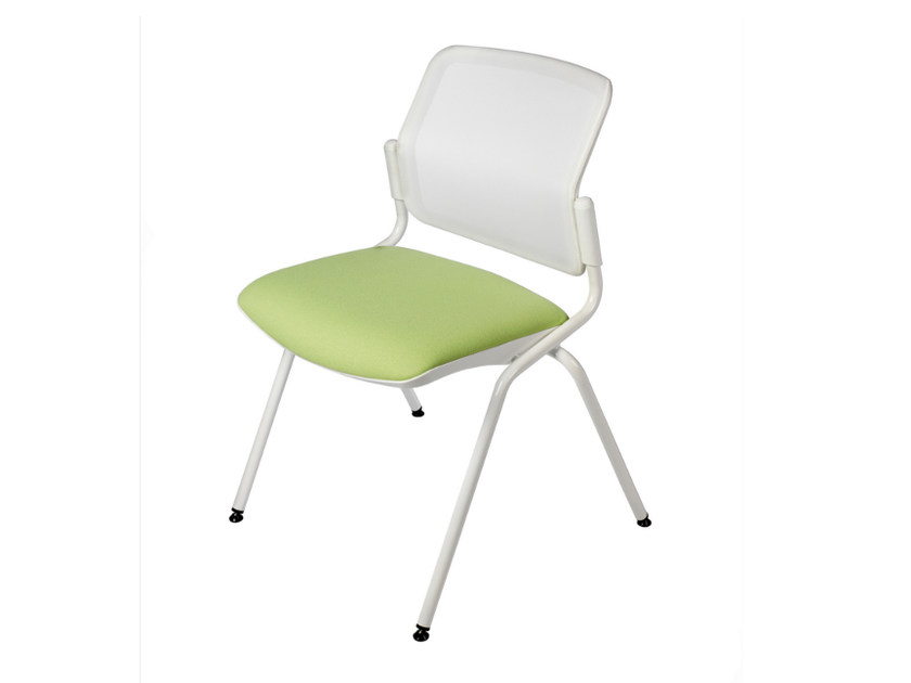 Upholstered fabric reception chair DELFY NET 073 by TALIN