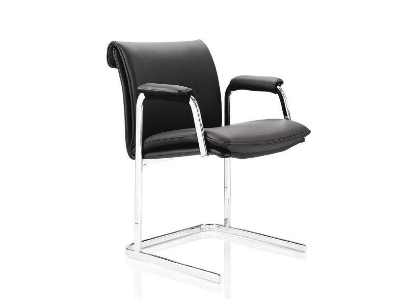 Upholstered stackable leather chair with armrests DELPHI | Chair with armrests - Boss Design