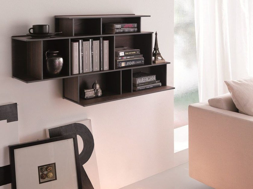 Floating MDF bookcase DEMIE | Floating bookcase - Ozzio Italia