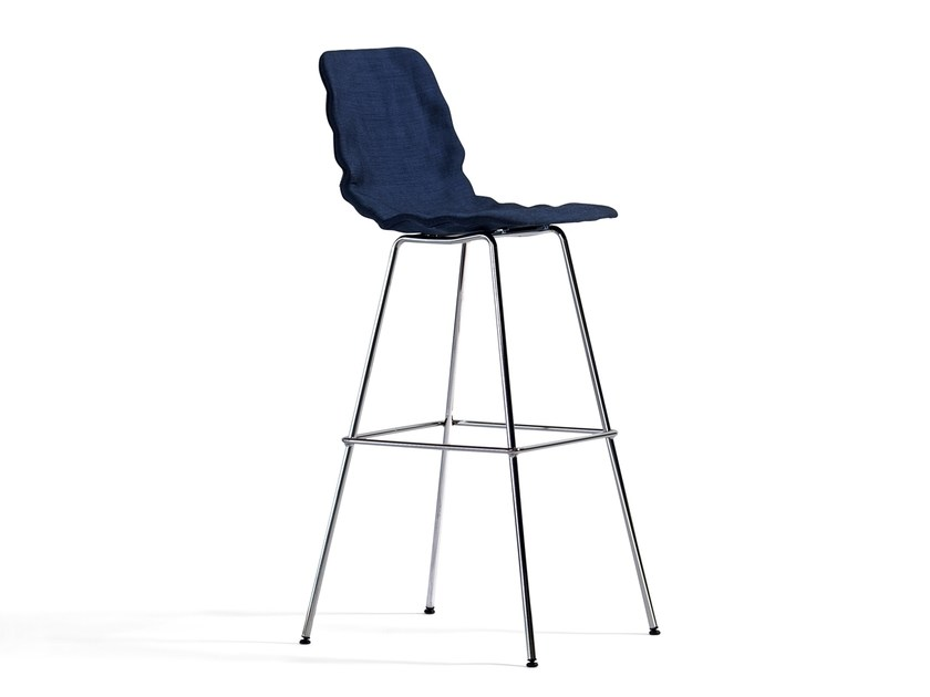 Fabric counter stool with footrest DENT DRESSED | Counter stool - Blå Station