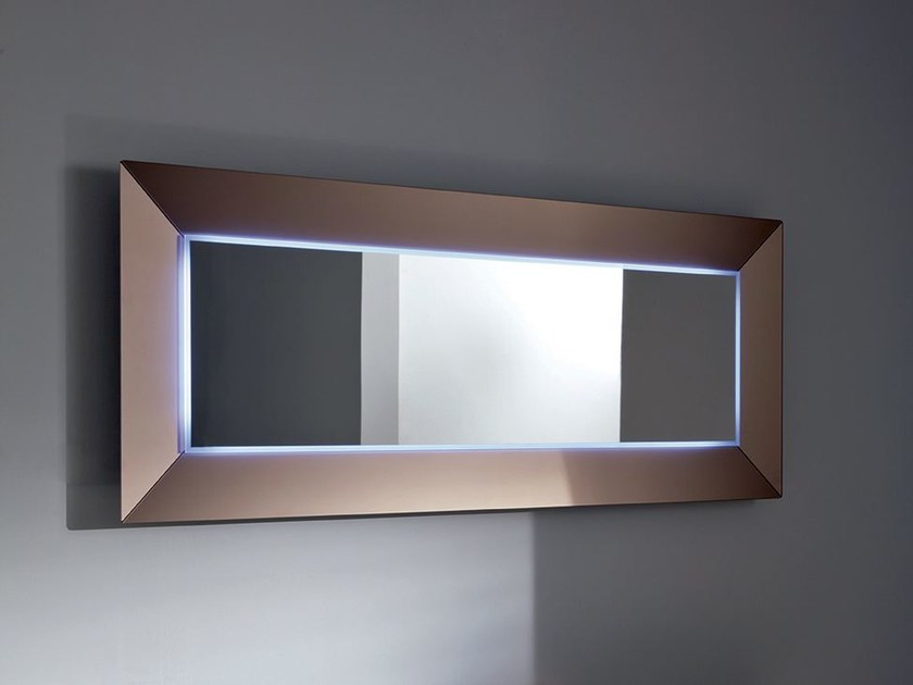 Rectangular mirror with integrated lighting DENVER UP | Rectangular mirror - SOVET ITALIA