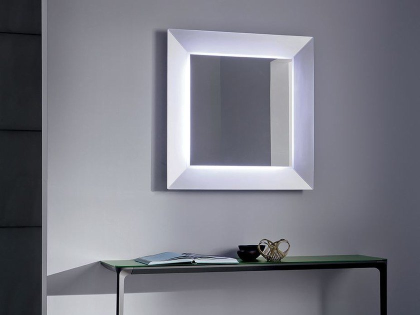 Square mirror with integrated lighting DENVER UP | Square mirror - SOVET ITALIA