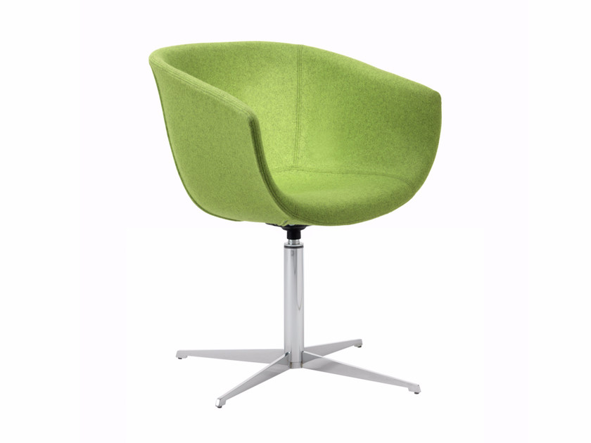 Swivel fabric easy chair with 4-spoke base DERBY I0035 / I0036 - Segis