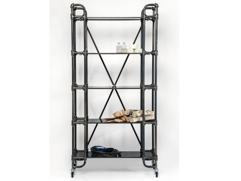 Open iron bookcase with casters DETOUR MOVE LARGO - KARE-DESIGN