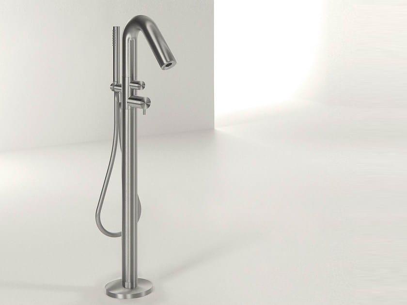 Floor standing stainless steel bathtub mixer with hand shower DIAMETRO35 INOX | Floor standing bathtub mixer - RUBINETTERIE RITMONIO