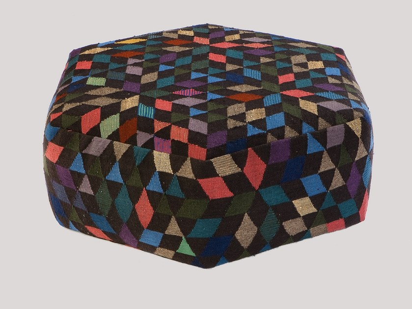 Upholstered wool pouf DIAMOND BLACK | Pouf by Golran