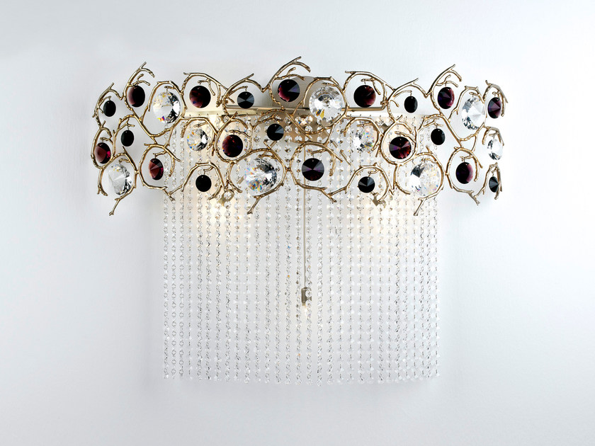 Halogen bronze wall lamp with crystals DIAMOND | Halogen wall lamp by Serip