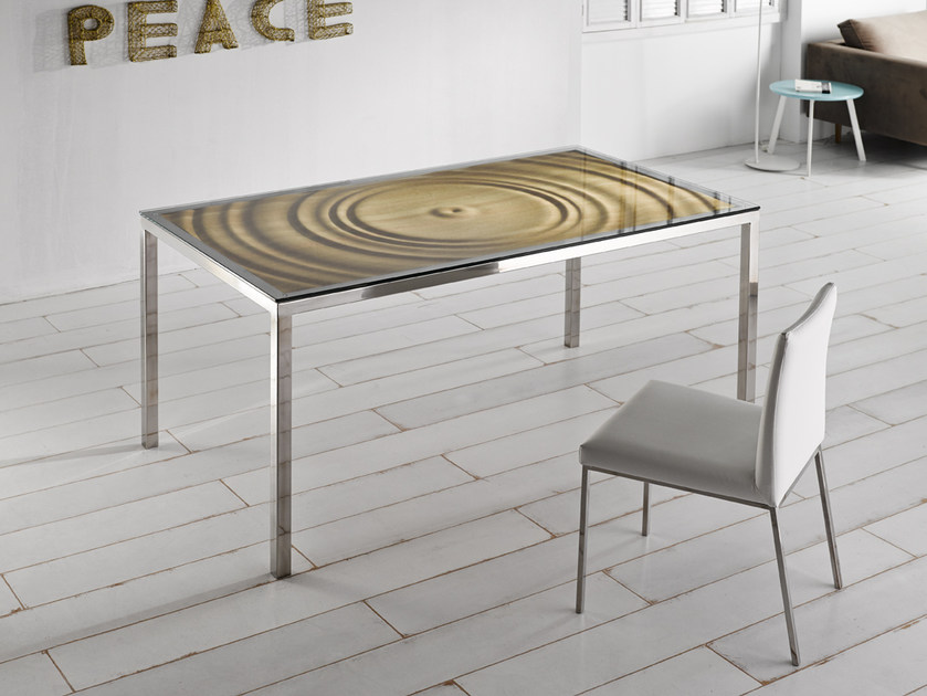 Steel and wood dining table AQUA | Dining table - Altinox Minimal Design