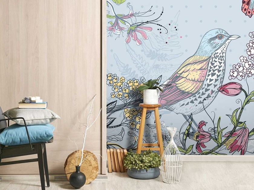 Washable panoramic non-woven paper wallpaper with floral pattern DL-FAUNE & FLORE - LGD01
