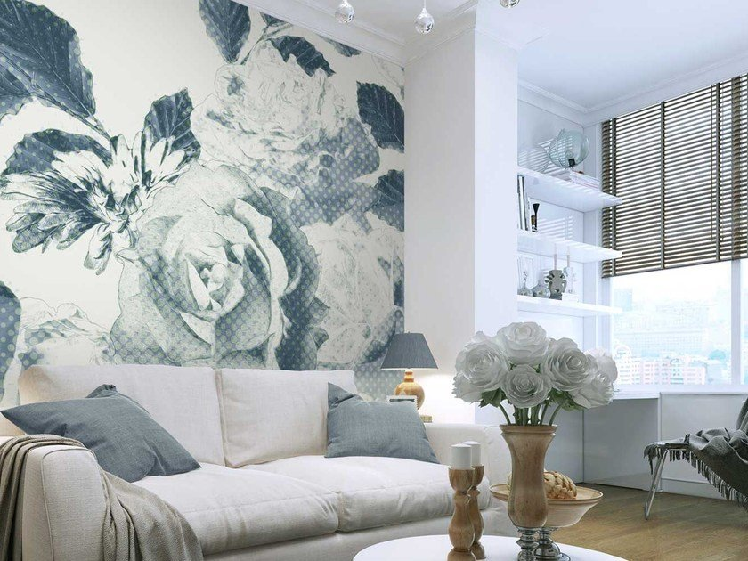 Washable panoramic non-woven paper wallpaper with floral pattern DL-FLORUR - LGD01