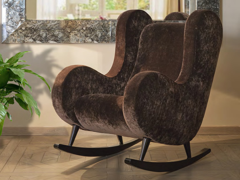 Rocking upholstered velvet armchair with armrests DODO - Formitalia Group