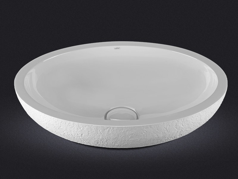 Countertop oval resin washbasin DOLCE OVAL TEXTURE - Vallvé Bathroom Boutique