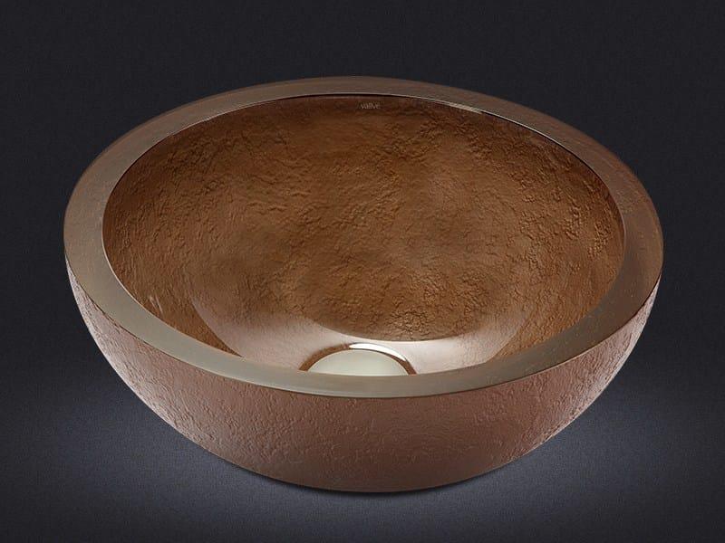 Countertop round resin washbasin DOLCE ROUND TEXTURE BRONZE - Vallvé Bathroom Boutique