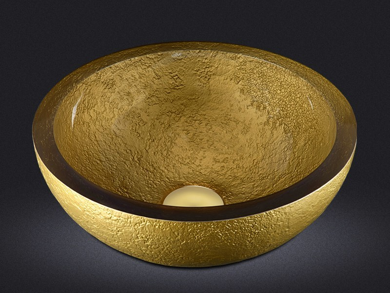 Countertop round resin washbasin DOLCE ROUND TEXTURE GOLD by Vallvé