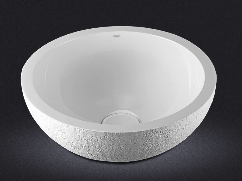 Countertop round resin washbasin DOLCE ROUND TEXTURE - Vallvé Bathroom Boutique