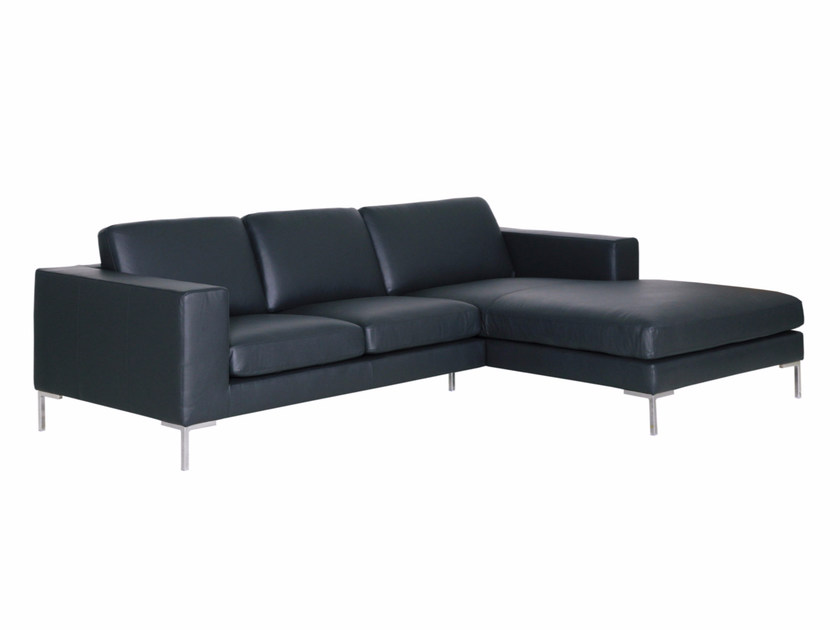 3 seater leather sofa with chaise longue DOMINO | Leather sofa - SITS