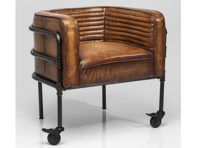 Leather armchair with armrests with casters DONATA - KARE-DESIGN