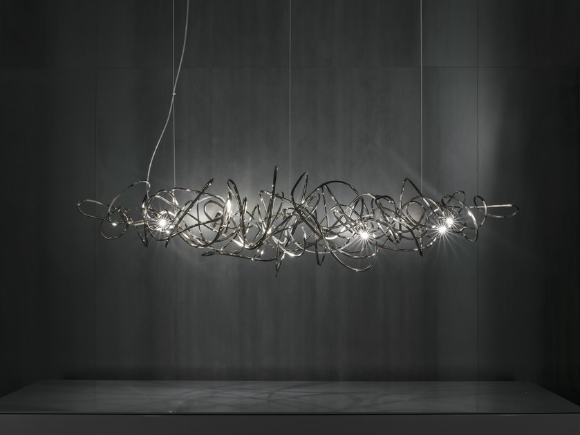 LED nickel pendant lamp DOODLE HORIZONTAL by TERZANI