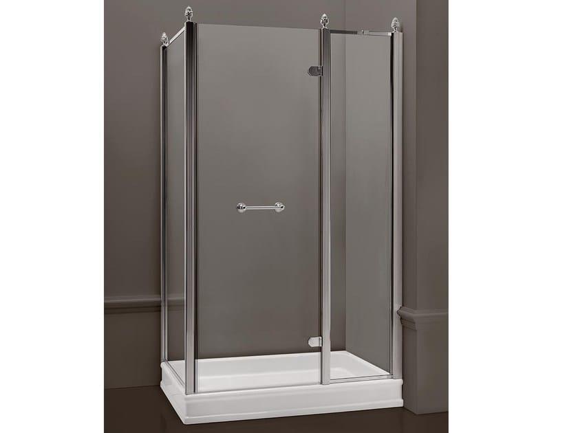 Rectangular satin glass shower cabin with hinged door DORSET | Rectangular shower cabin - BATH&BATH