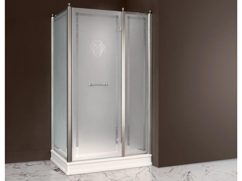 Rectangular satin glass shower cabin with hinged door DORSET | Satin glass shower cabin - BATH&BATH