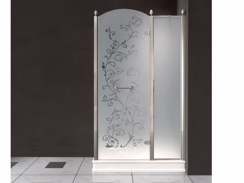 Rectangular satin glass shower cabin with hinged door DORSET | Shower cabin - BATH&BATH