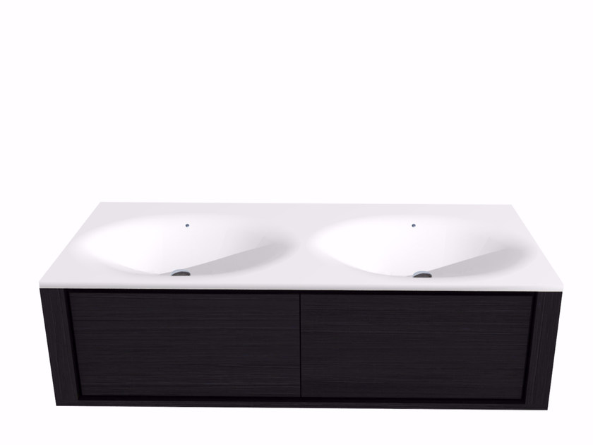 Double wall-mounted vanity unit with drawers QUALITIME BLACK | Double vanity unit - Ethnicraft
