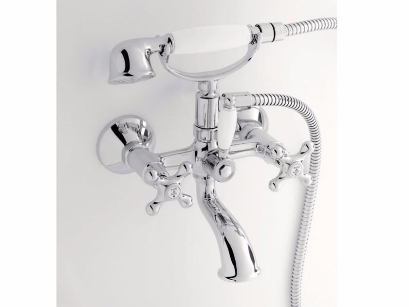 Wall-mounted bathtub tap with hand shower DOVER | Wall-mounted bathtub tap - BATH&BATH