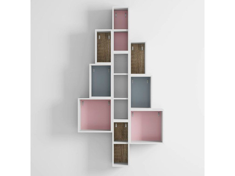 Open wall-mounted laminate bookcase DR•ØNE | Open bookcase - De Rosso