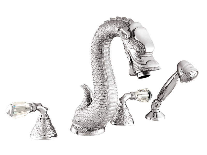 4 hole bathtub set with Swarovski® crystals DRAGON | Bathtub set with Swarovski® crystals - Bronces Mestre