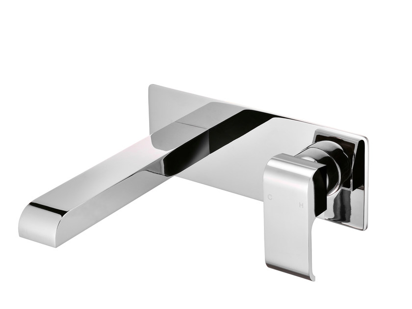 Wall-mounted single handle chromed brass washbasin mixer with plate DRAGON | Wall-mounted washbasin mixer by JUSTIME