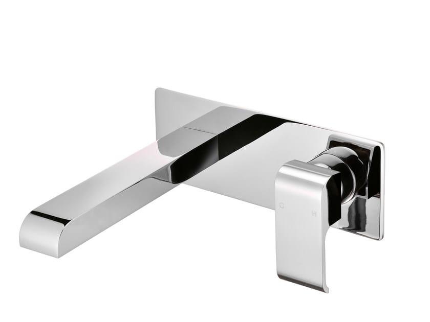 Wall-mounted single handle chromed brass washbasin mixer with plate DRAGON | Wall-mounted washbasin mixer - JUSTIME