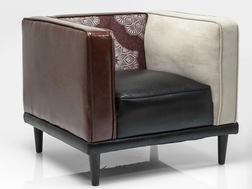 Imitation leather armchair with armrests DRESSY by KARE-DESIGN