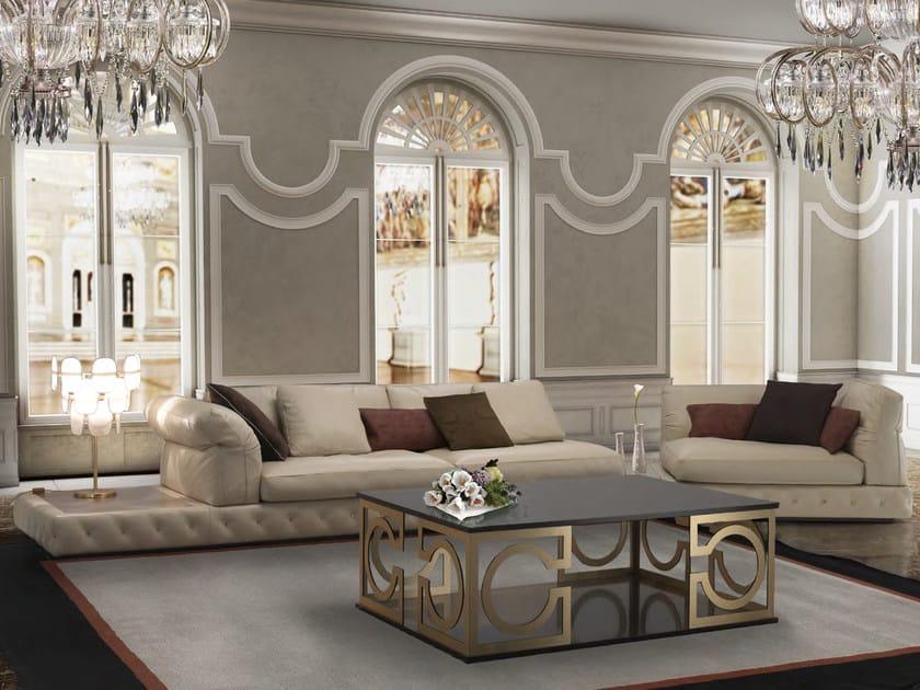 Corner tufted sectional leather sofa DUCCIO by Formitalia Group