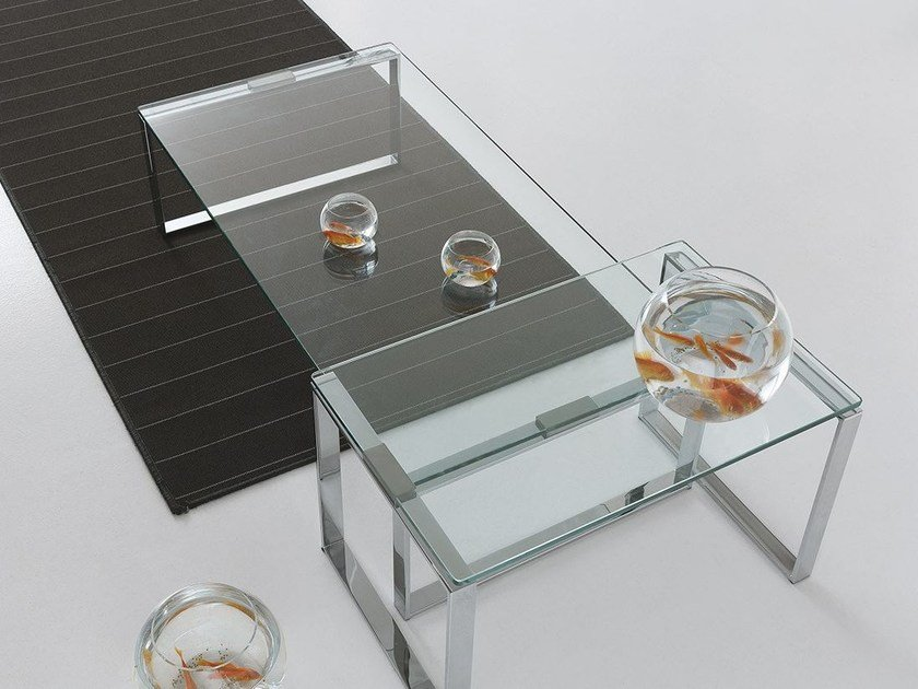 Low glass coffee table for living room DUO - Presotto Industrie Mobili