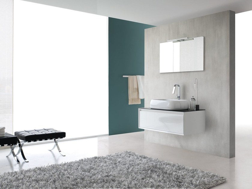 Lacquered single vanity unit E.45 COMPOSITION 1 by Arcom