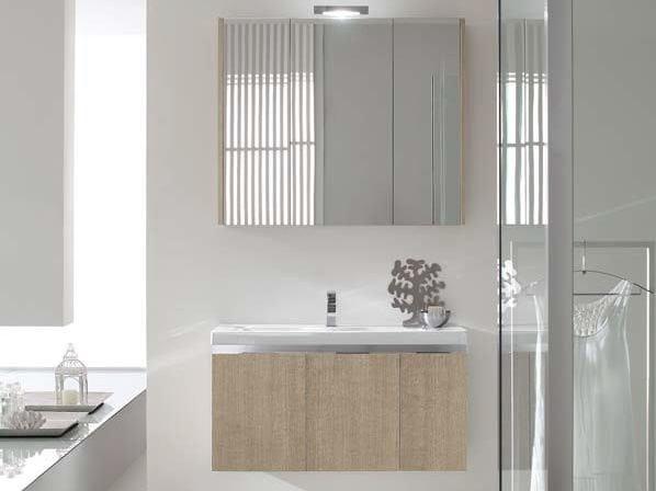 Single oak vanity unit E.GÒ - COMPOSITION 11 - Arcom