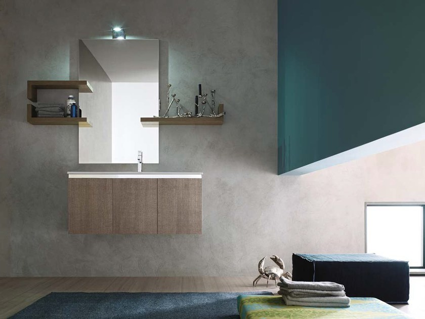 Single oak vanity unit E.GÒ - COMPOSITION 21 - Arcom